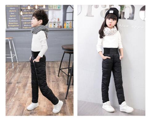 Hot Kids Child Girls boys Winter Cotton Down Pants Warm Elastic waist Trousers