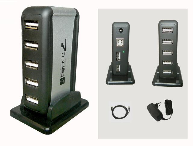 MULTIPRISE USB 2.0 (HUB) - 1 Entrée / 7 Sorties - Avec Alimentation externe