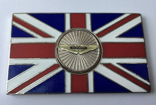 ASTON MARTIN Union Jack GB Brass Enamel Classic Car Badge Self Adhesive