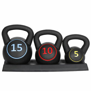 3-Piece Kettlebell Set Fitness Strength Training Exercise With Base Rack