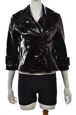Robert Rodriguez Jacket Sz 4 Black Leather Patent Cropped Casual Coat