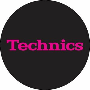 Technics-60652-PAIR-Slipmat-Simple-T3-Pink-on-Black-Original-Brand-New