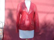 MNG Mango Red Lamb Genuine Leather Women's Coat Jacket Sz 40 M