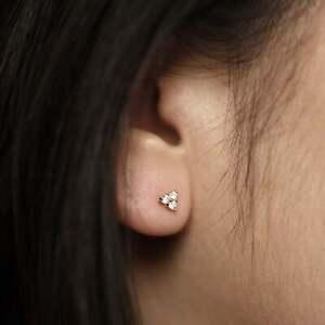 Diamant-Ohrstecker-Paar-Ohrringe-Ohr-6-Brillanten-0-15-Carat-VS-585er-14K-Gold