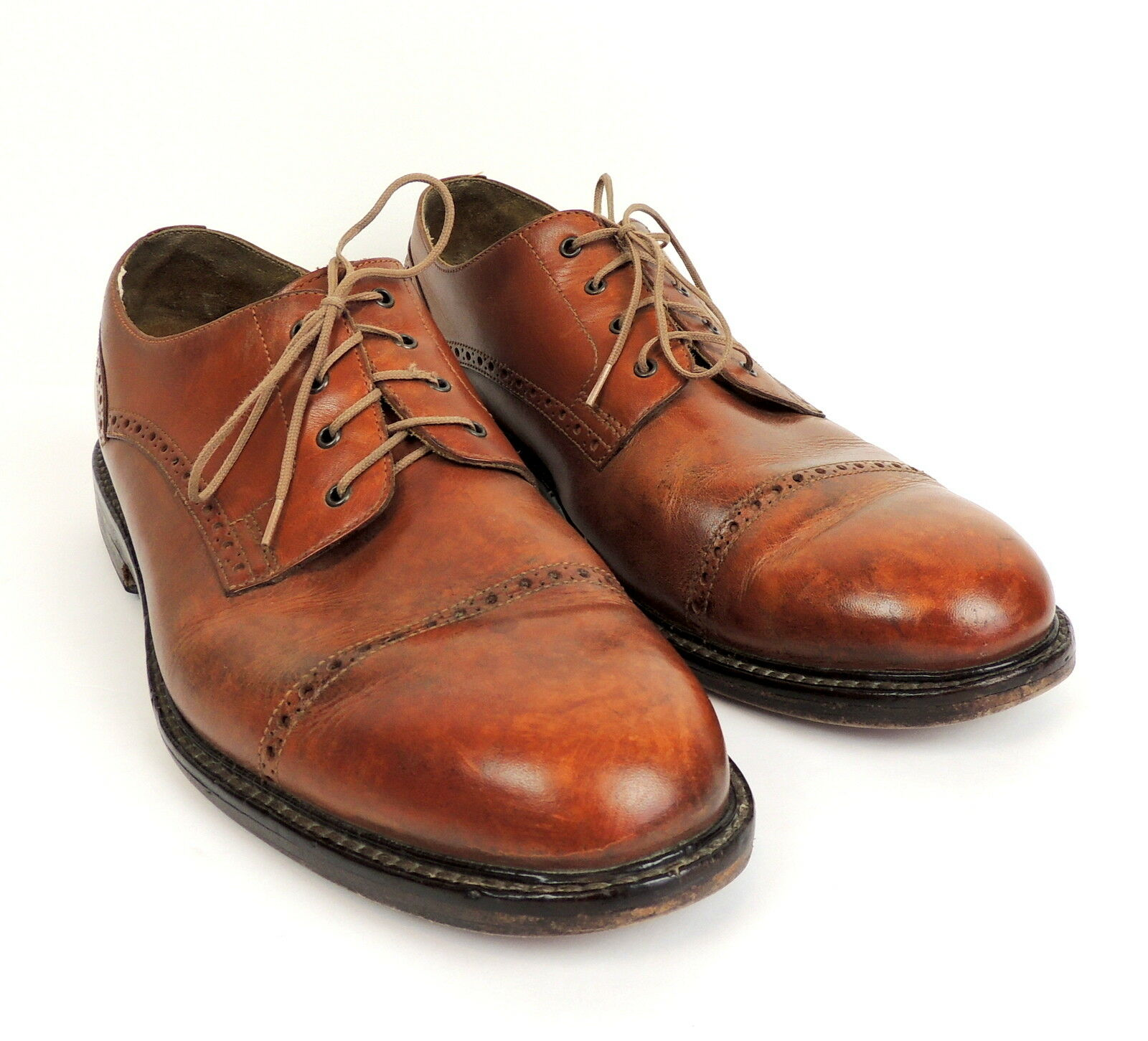Ralph Lauren Polo Mens 11 Wing Tip Cap Toe Leather Oxford schuhe braun Leather