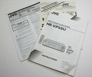 ORIGINAL OWNERS MANUAL and QUICK START for JVC HR VP58U  VCR VHS RECORDER
