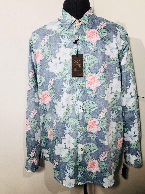 Tasso Elba Island Men's Floral Shirt Large New
