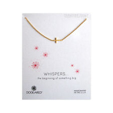 """Dogeared Gold Sideway Cross Whispers Necklace 14K Gold Filled 18"""" Chain & Pouch"""