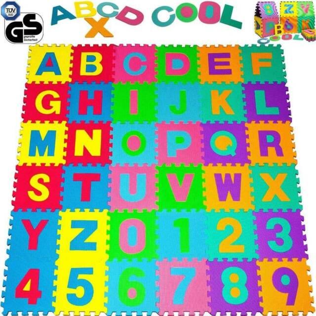 Tappeto Puzzle per Bambini Set 86 Pezzi Gioco Tappetino Lettere Numeri Gomma EVA