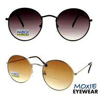 Bifocal Sunglasses Big Round Retro Funky Unisex Gold Amber Black Smoke Moxie