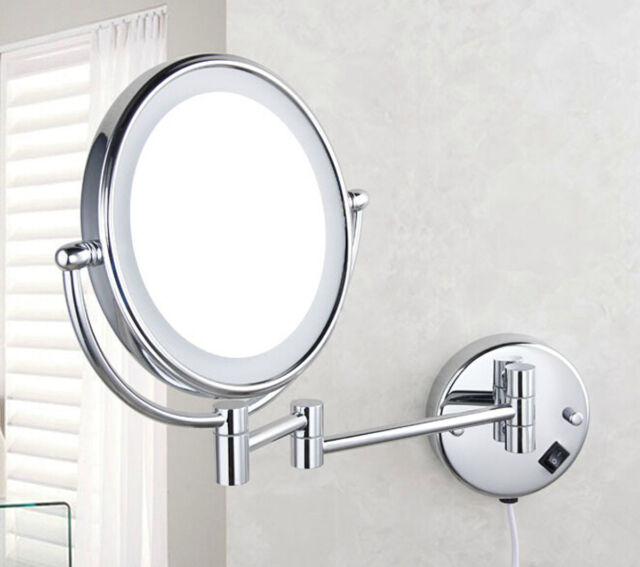 6 Led Lighted Wall Mount Mirror Bathroom Shaving Makeup