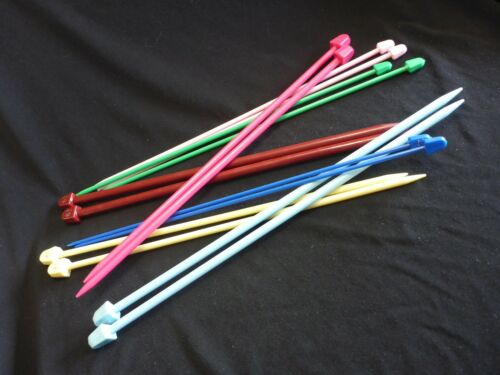 25 cm COLORED PLASTIC KNITTING NEEDLES Sizes 2,2.5,3,3.5,4,4.5,5,5.5,6 /& 6.5 mm