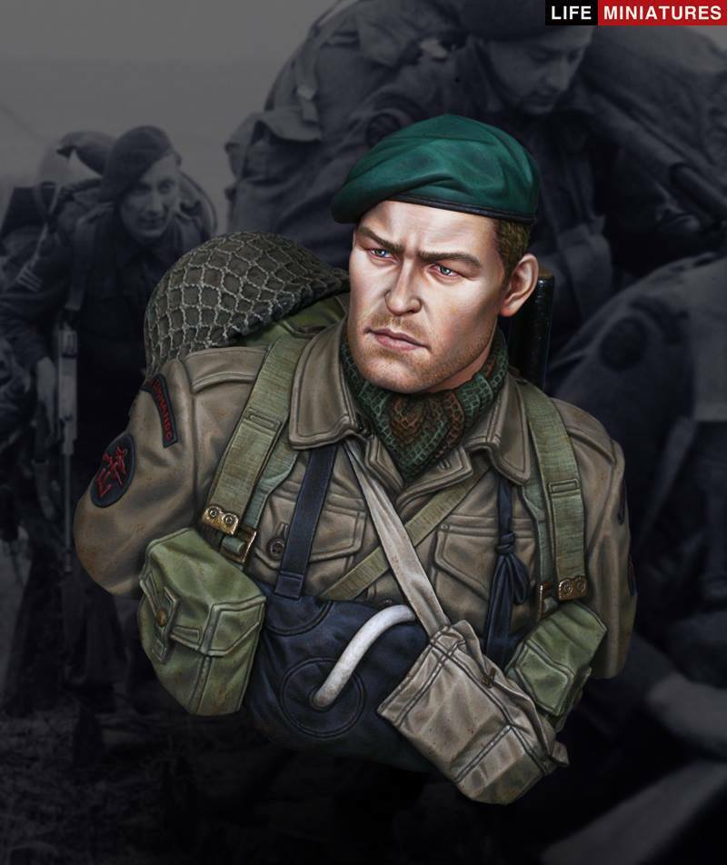 Life Miniatures British Commando D-Day 1944 WW2 1 10th Bust Unpainted kit