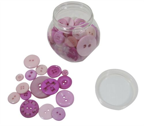 Pink 120g Jar of Mixed Buttons