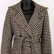 J Crew Wool Trench Coat Double Breasted Overcoat Houndstooth Womens Size 6