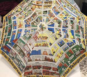 Vtg Fort Worth Star Telegram Umbrella Newspaper Comics Snoopy Peanuts Garfield Ebay