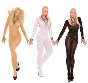 56210f8afe9 Full Length Long Sleeve Body Stocking Opaque Footed Hosiery Lingerie ...