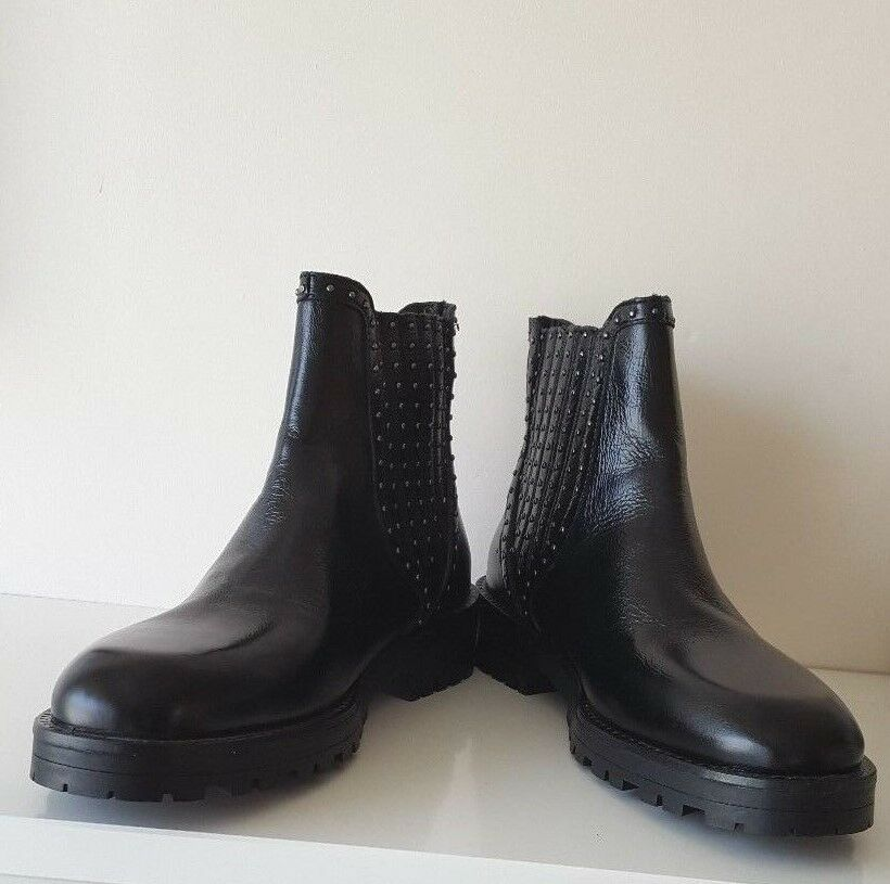 ZARA NEW Damenschuhe SS18 BLACK FLAT LEATHER CHELSEA Stiefel WITH STUDS 3&4&6&7&8