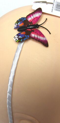 NEW White ribbon wrapped aliceband with pink blue green side butterfly fashion