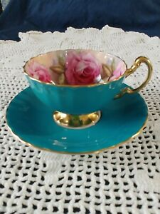 Aynsley-TeaCup-and-Saucer-Amazing-ROSES-Turquoise