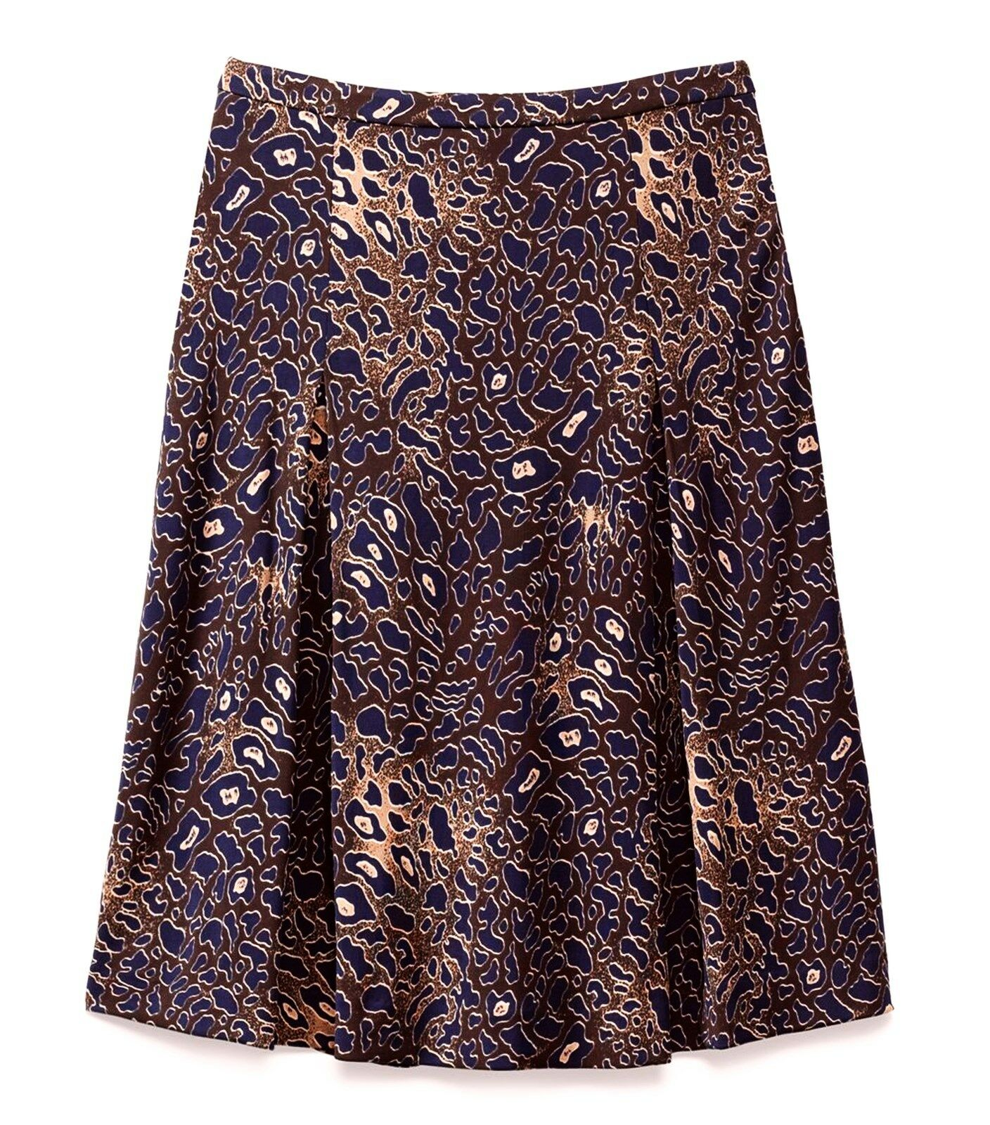 295 Tory Burch sz S (W  30.5 ) Coconut Abstract Leopard Farah Women Skirt NWT