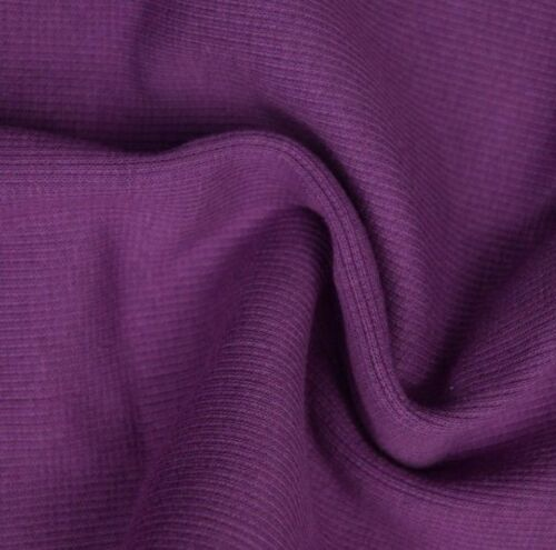 Stretch Ribbing//Collar//Cuff Fabric Plain Purple HW 95/%Cotton 5/%Lycra HalfMetre