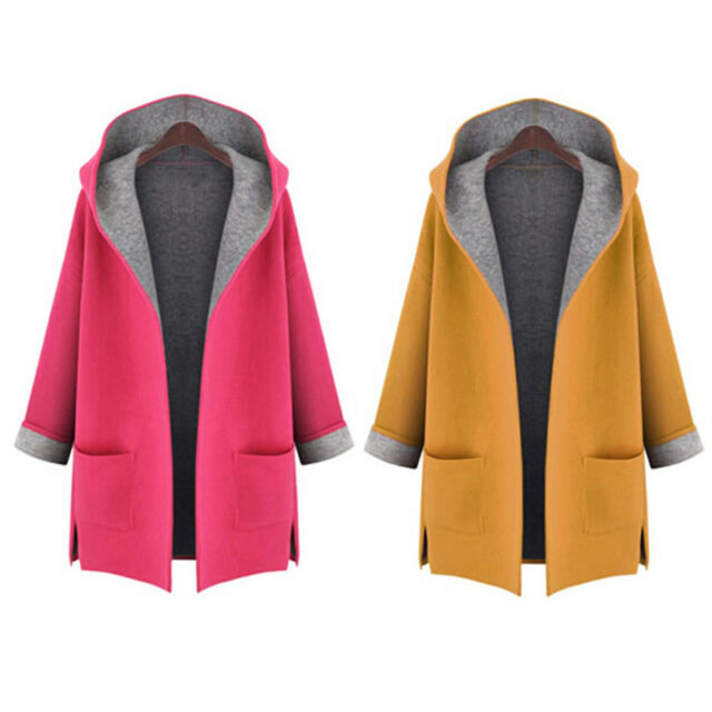 UK Womens Hooded Long Sleeve Coat Jacket Ladies Windbreaker Trench Parka Outwear