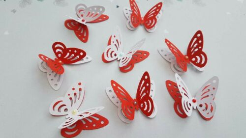 24x 3D paper butterflies Wedding Party table decorations white and red