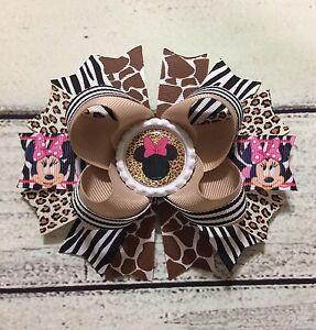 Handmade Animal Print / Leopard/Giraff<wbr/>e/Zebra Minnie Mouse Boutique Hair Bows