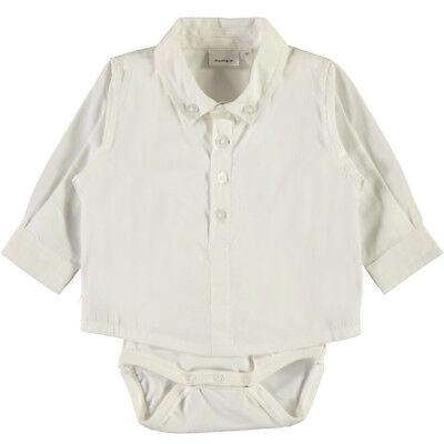 Baby Hemd Body Jungen Kinder Taufe Fest Anzug Tauf Kleidung Creme-weiß Name it