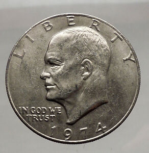 1974-President-Eisenhower-Apollo-11-Moon-Landing-Dollar-USA-Coin-i46173