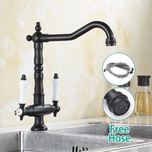 Traditional-Kitchen-Sink-Mixer-Taps-Dual-Ceramic-Levers-Monobloc-Black-Faucet-UK