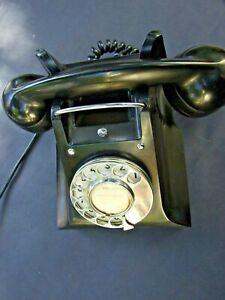 VINTAGE-BLACK-PORTABLE-BAKELITE-PMG-E58-TELEPHONE-ROTARY-DIAL-1940-039-s-WORKS