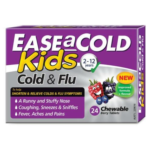 EASE A COLD KIDS 212 YEARS COLD & FLU 24 CHEWABLE BERRY TABLETS NOSE RELIEF