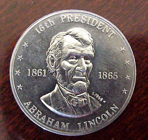 SHELL OIL CO MR PRESIDENT COIN GAME 1968 FRANKLIN MINT ALUMINUM COINS LOT//4 MIP