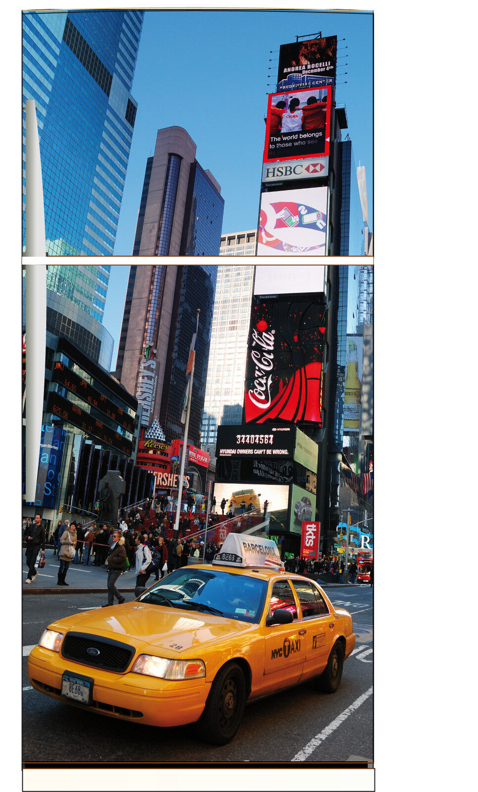 Aufkleber Kühlschrank Haushaltsgeräte Dekor Küche New York Taxi 70x170cm Ref 531