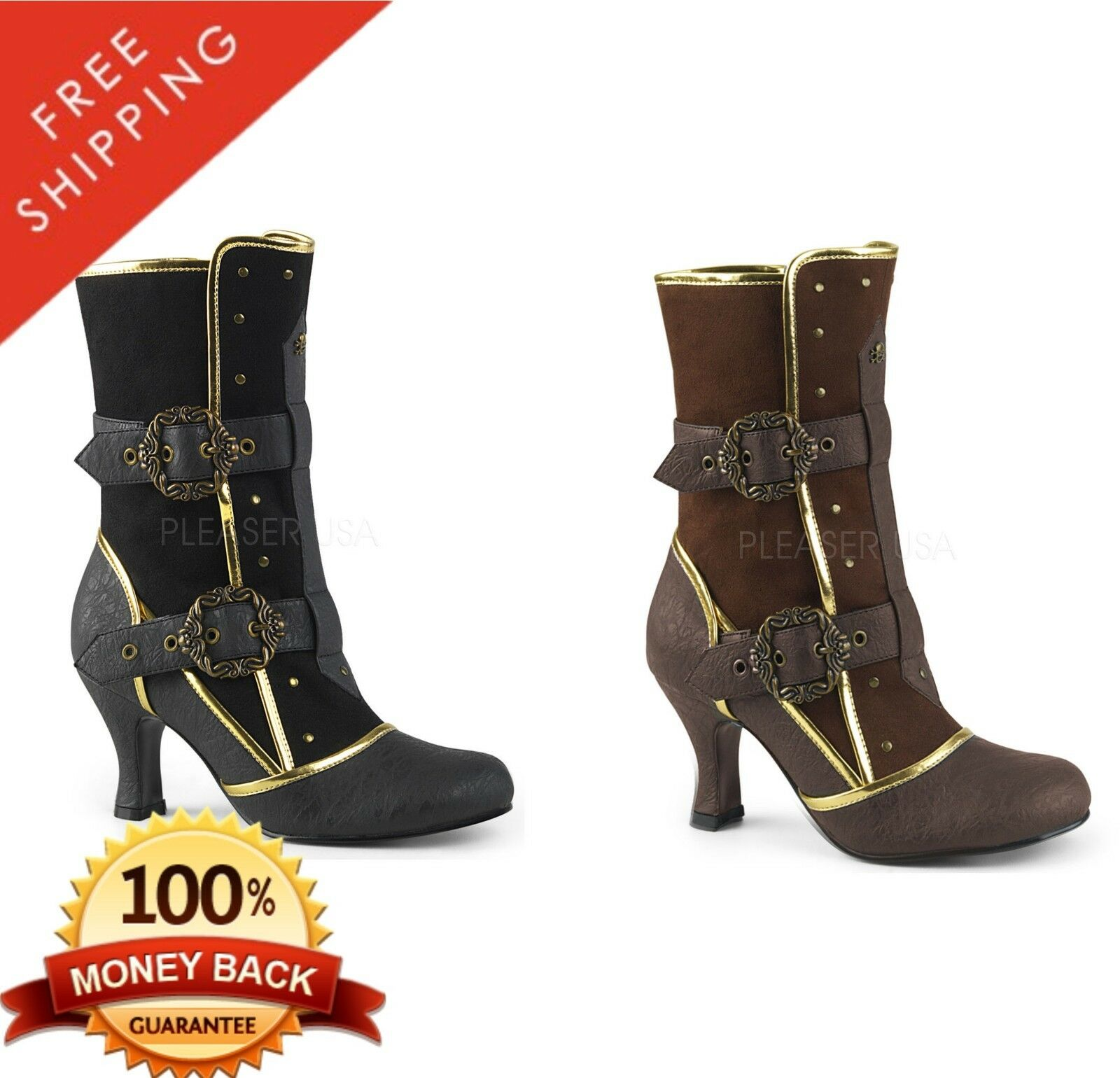 Pleaser Funtasma MATEY-205 Women's Round Toe Ankle Boot Featuring gold Trims