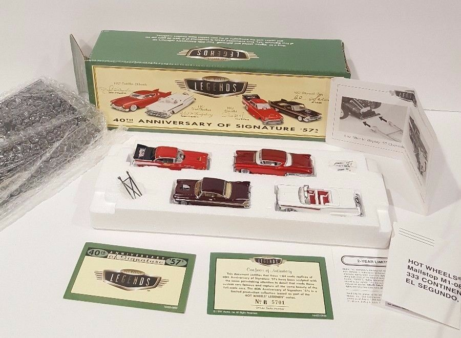 Hot Wheels Legends 40th Anniversary Signature 57s Set W Display Case, New Sealed