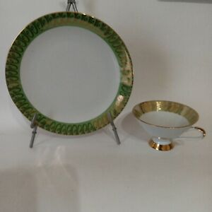 Bavaria cup ad plate set Green with accents  vintage