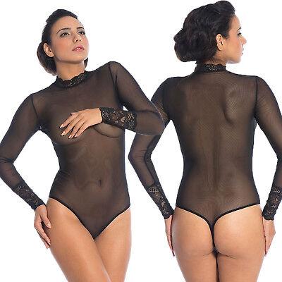 Femmes Dentelle Noir Body Taille 12
