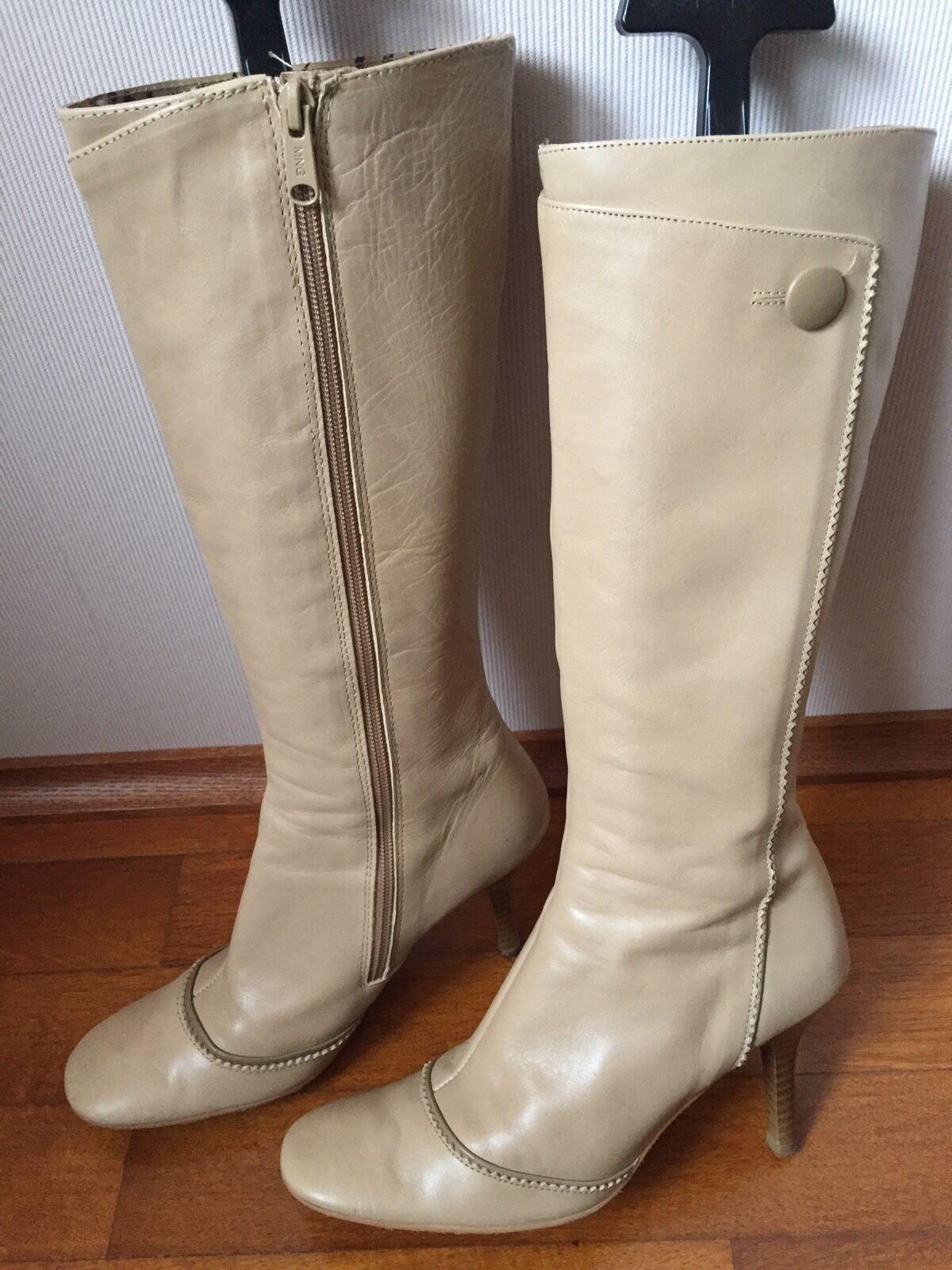 Stiefel von Mng Mango Mng von 38 UK5 Beige Creme Blogger Leder Leder Neuw. 24a362