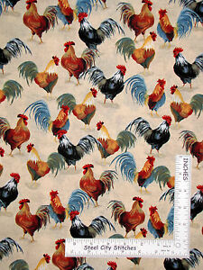 Rooster-Farm-Bird-Cream-Gray-Cotton-Fabric-Windham-41212-1-Country-Kitchen-Yard