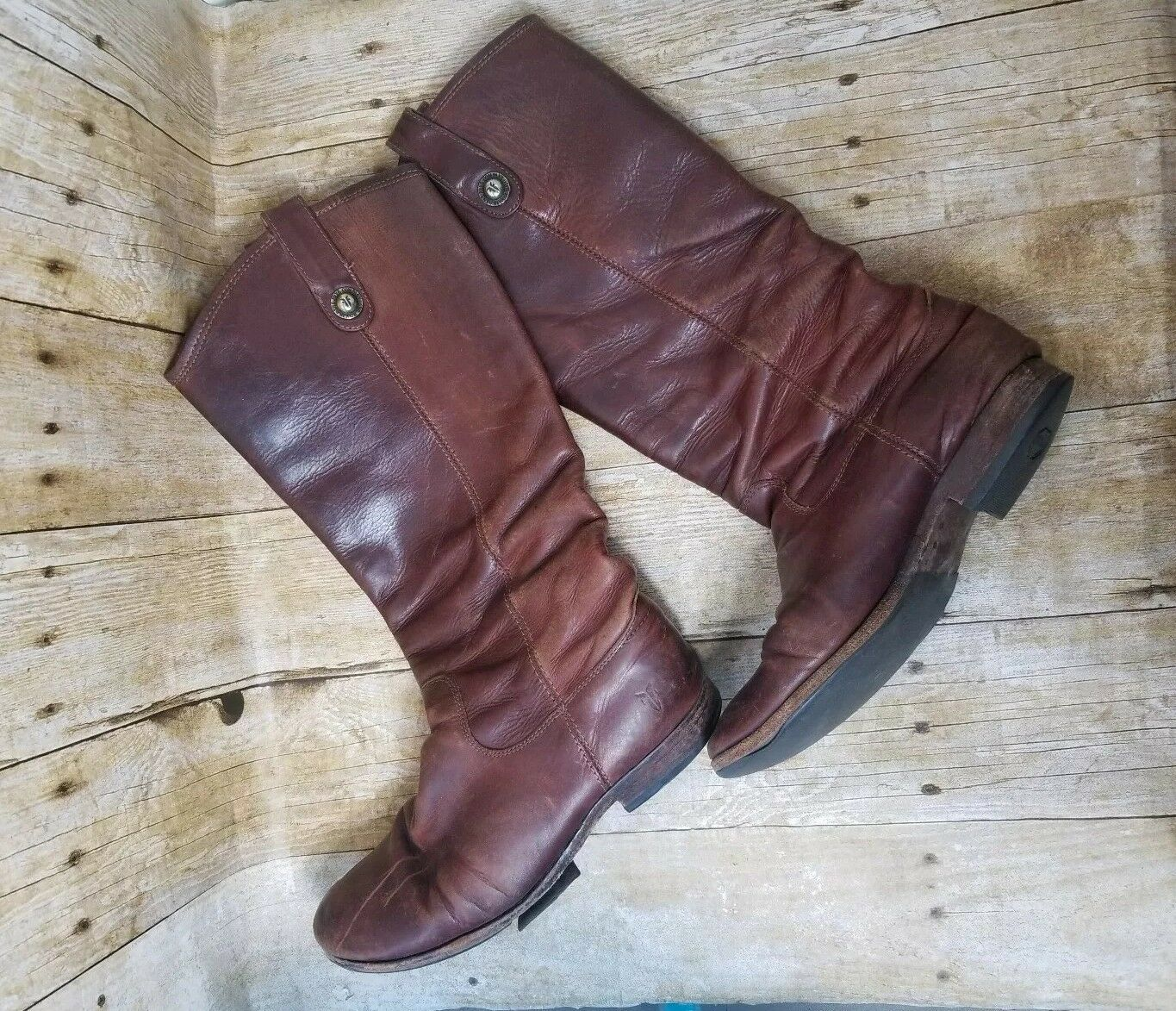 Womens Frye Melissa Button Riding Boots SZ 7 B Medium Pull on Brown Congac Red