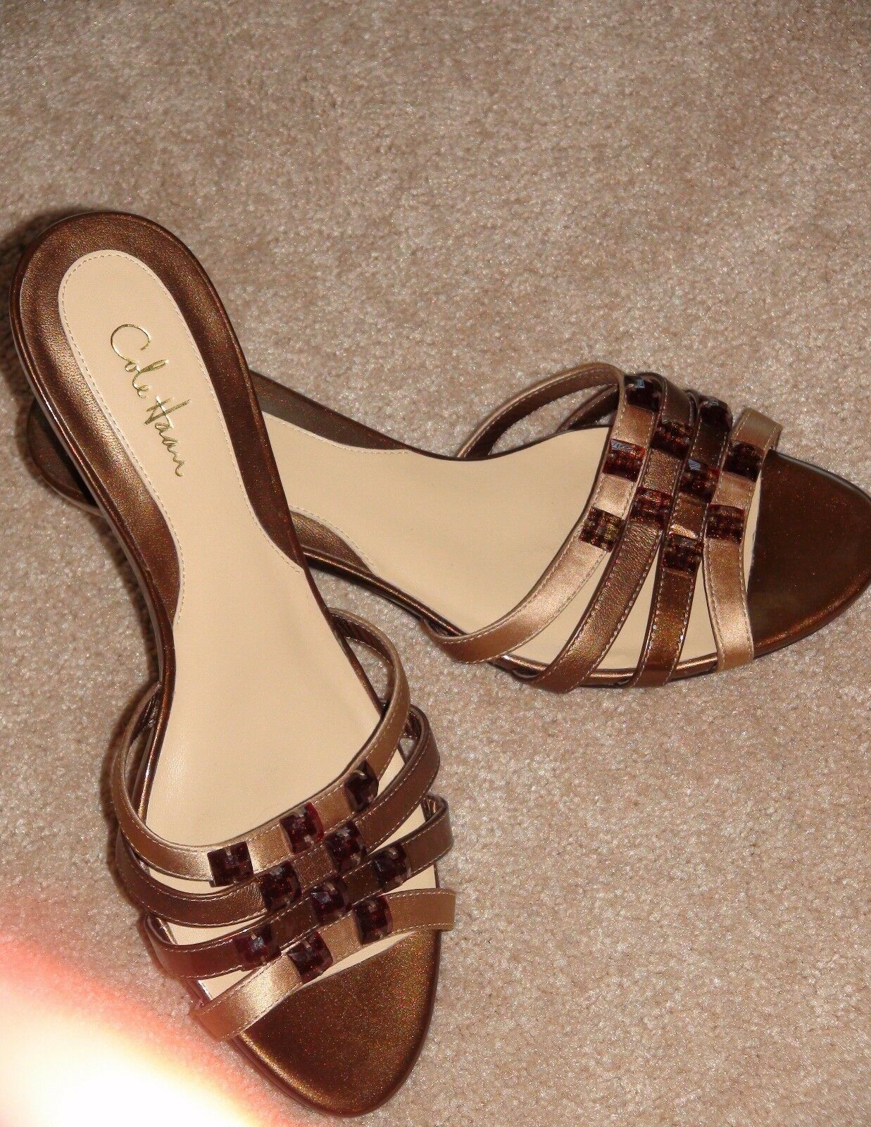Cole Hann Women's Brown Copper Embellished Slide Slide Slide Slip On Sandals Sz 7 Pre Owned 7b5b3b