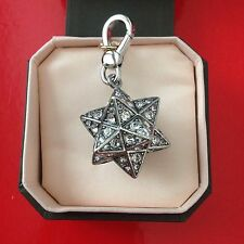 NWT NEW IN BOX JUICY COUTURE SILVER PAVE CRYSTAL STAR CHARM MOROCCAN 3D $58 RARE