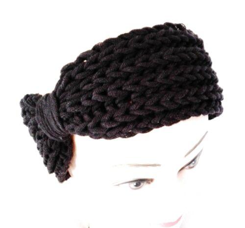 EL BURRO Stirnband Haarband Ohrwärmer schwarz Mütze Strickmütze Beanie