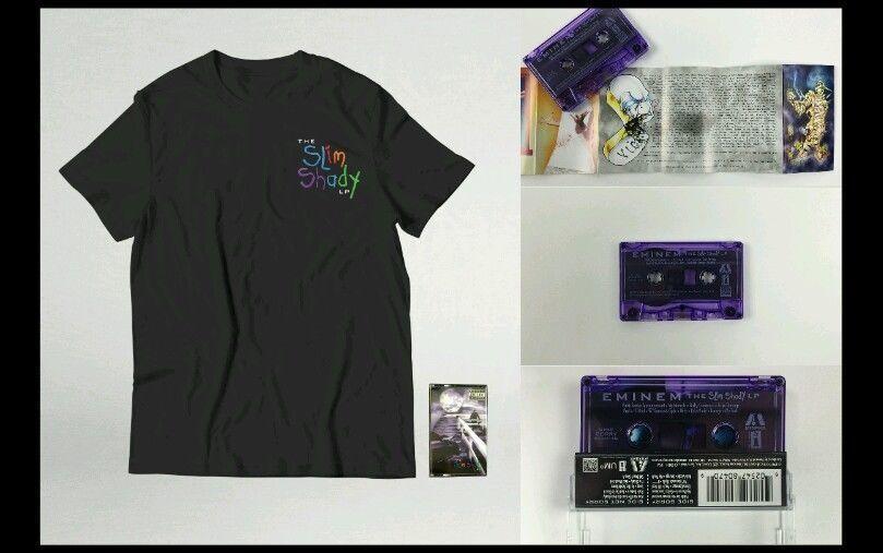 Authentic Eminem Slim Shady LP Purple Cassette &  Men's T-Shirt Tee L or XL