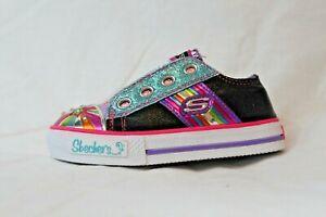 Skechers-Light-Up-Toddler-Baby-Shoes-Rainbow-Metallic-Velcro-Black-MSRP-45-NEW