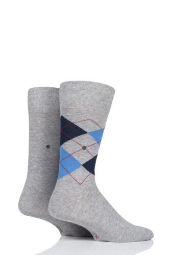 Mens 2 Pair Burlington Everyday Plain and Argyle Cotton Socks