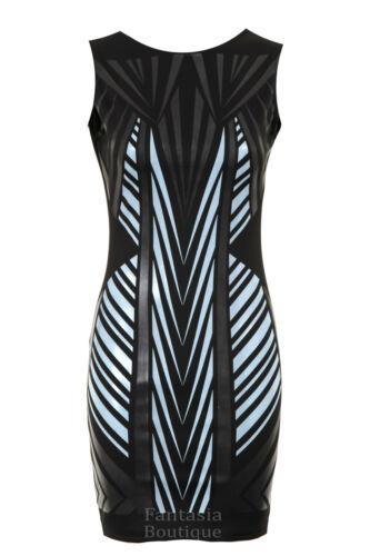 Ladies Bodycon Sleeveless Wetlook Triangle Pattern Women/'s Slim Fitting Dress